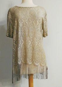 Vintage Sheer Lace and Fringe Top